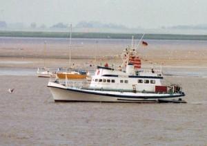 MB Frido Spatz, ex Theodor Heuss, Bremerhaven, Weser, 1990.